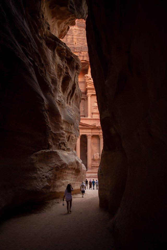 El Siq y el Tesoro de Petra.